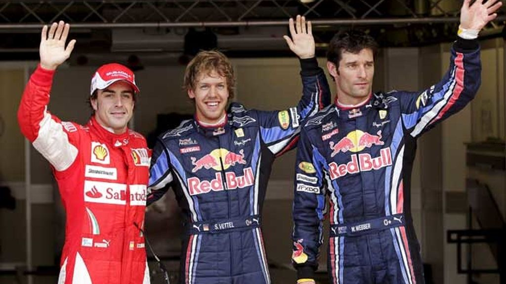 Los tres primeros de la sesión de clasificación: Vettel, Webber y Alonso