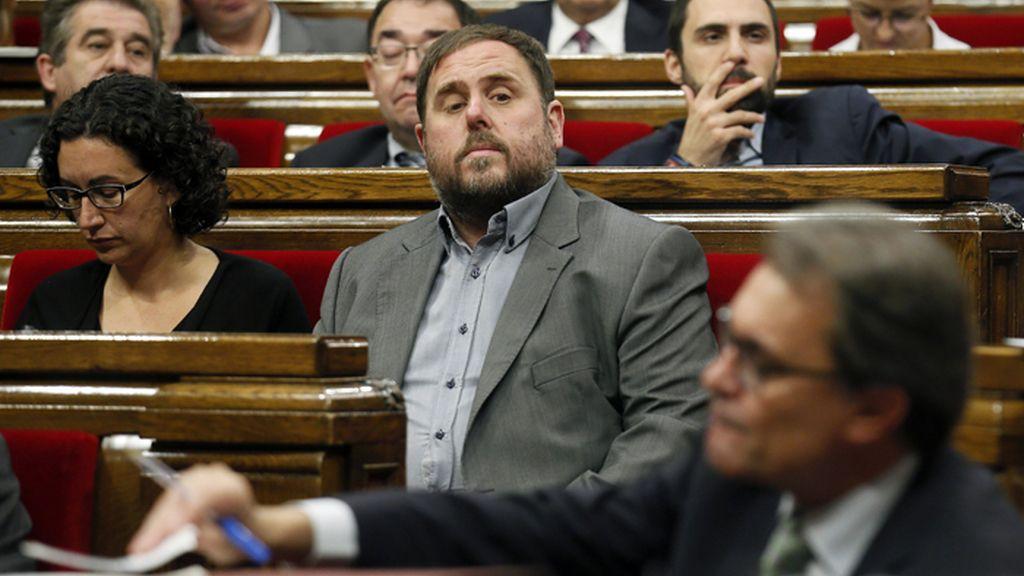 Mas y Junqueras en una sesión del Parlamento de Cataluña