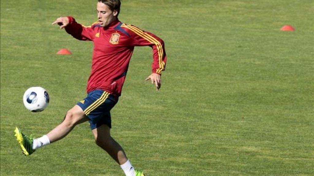 Sergio Canales, en un entrenamiento con la Sub-21.