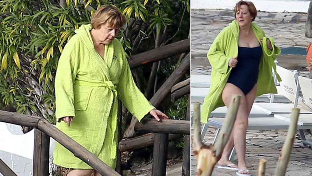 Merkel con un llamativo verde kiwi