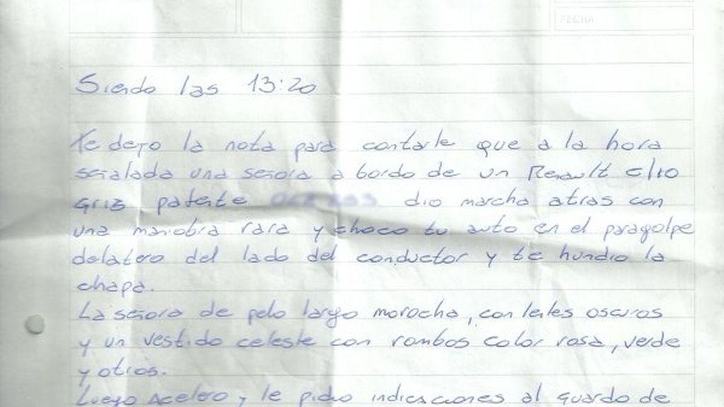 Carta que deja un testigo solidario al conductor de un coche accidentado