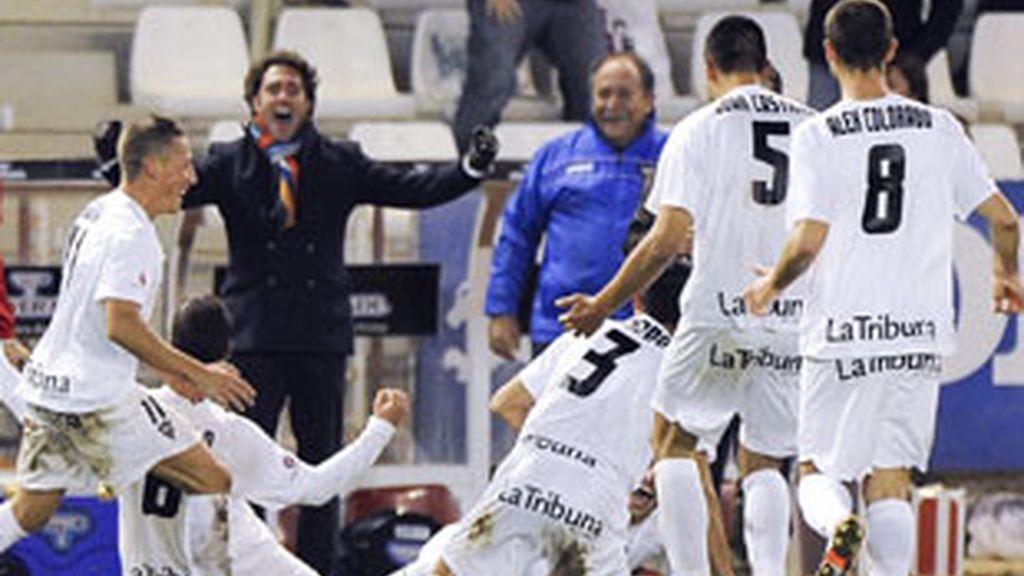 El Albacete celebra su segundo gol al At. Madrid. FOTO: EFE