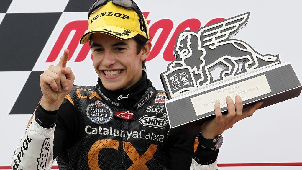 Marc Márquez, de último de la parrilla a llevarse la victoria en Moto2 en 2012