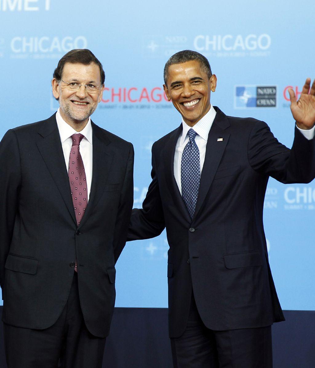 Rajoy y Obama durante una cumbre de la OTAN