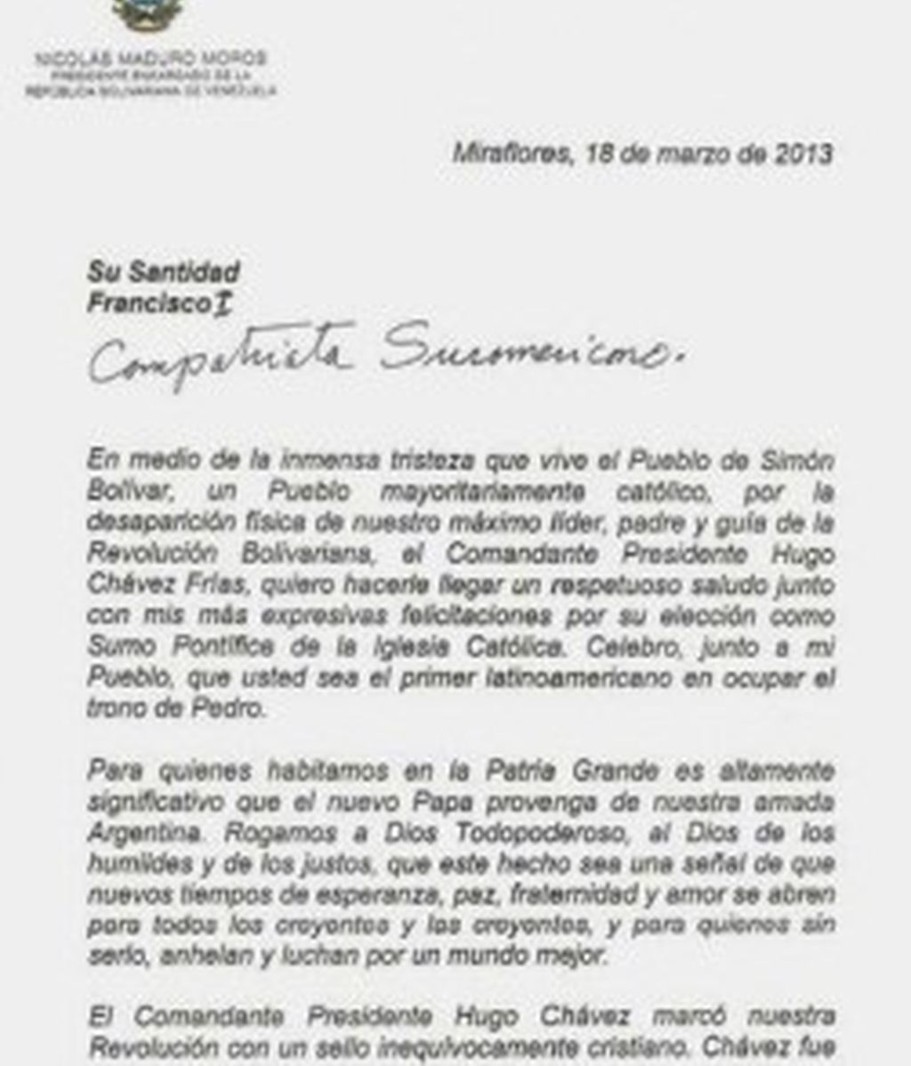 Carta de Maduro al Papa Francisco