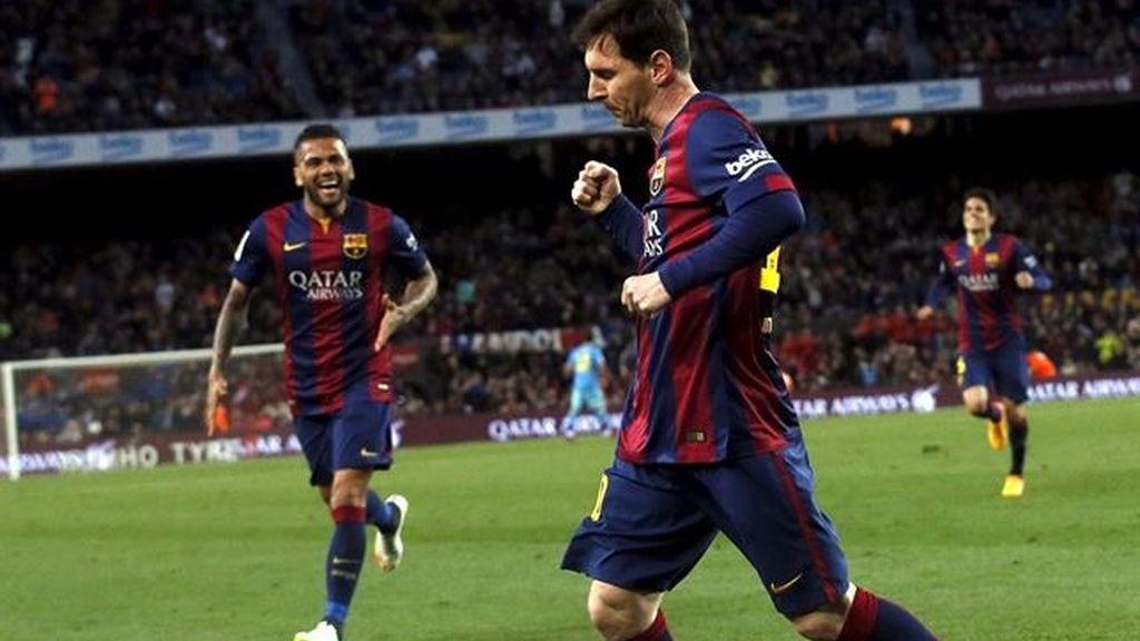 El Barça gana sin exprimirse con hachazos de Messi y Suárez