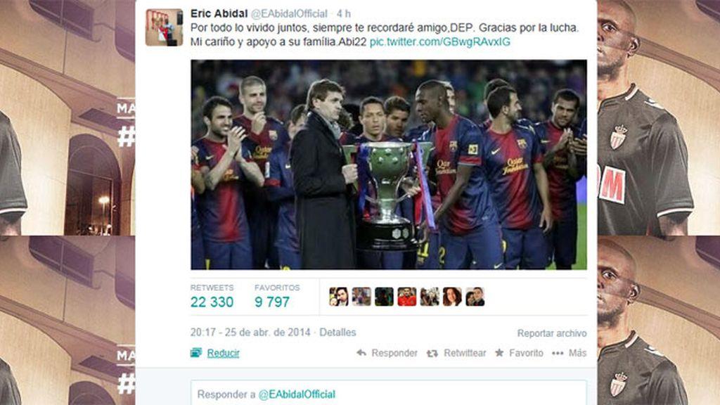 Eric Abidal se despide de Tito Vilanova en Twitter
