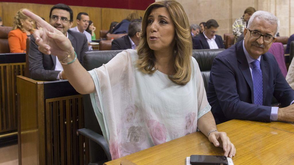 Susana Díaz, presidenta en funciones de la Junta de Andalucía, durante el debate de investidura