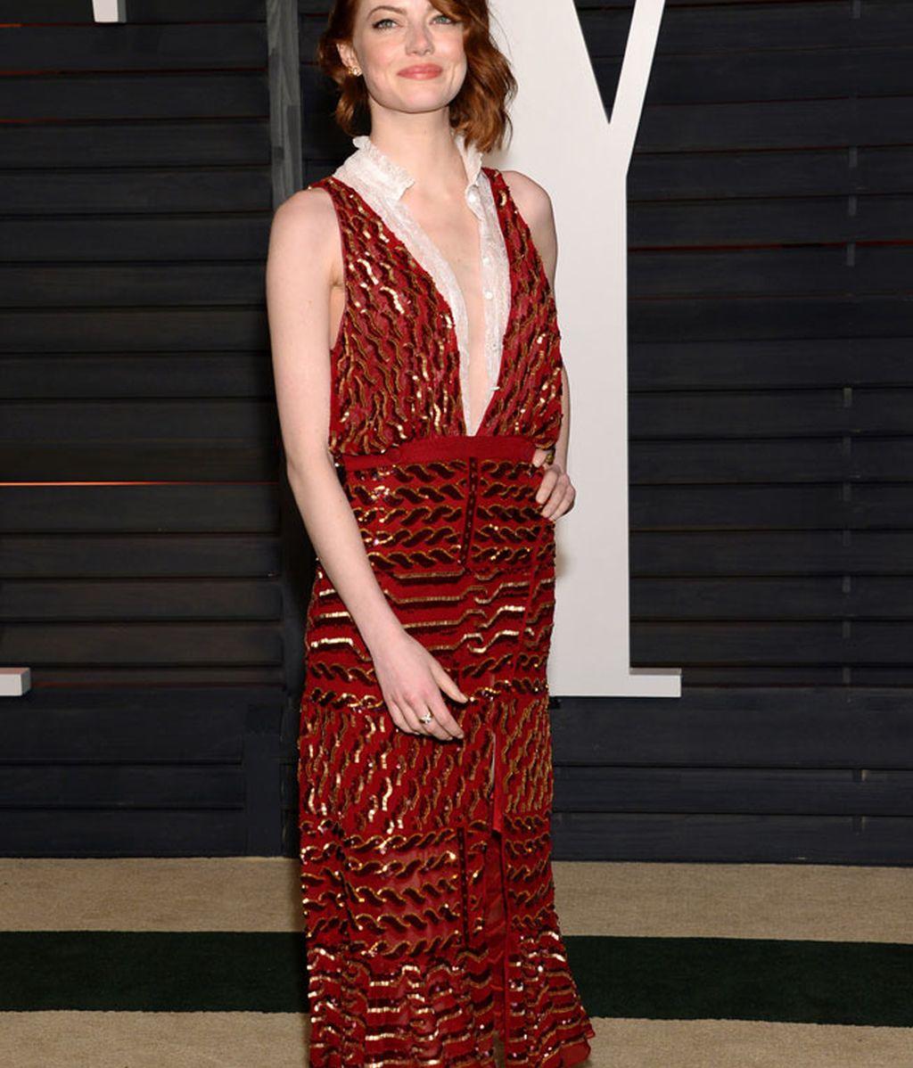 Emma Stone fue una de las que cambió de vestido en la fiesta