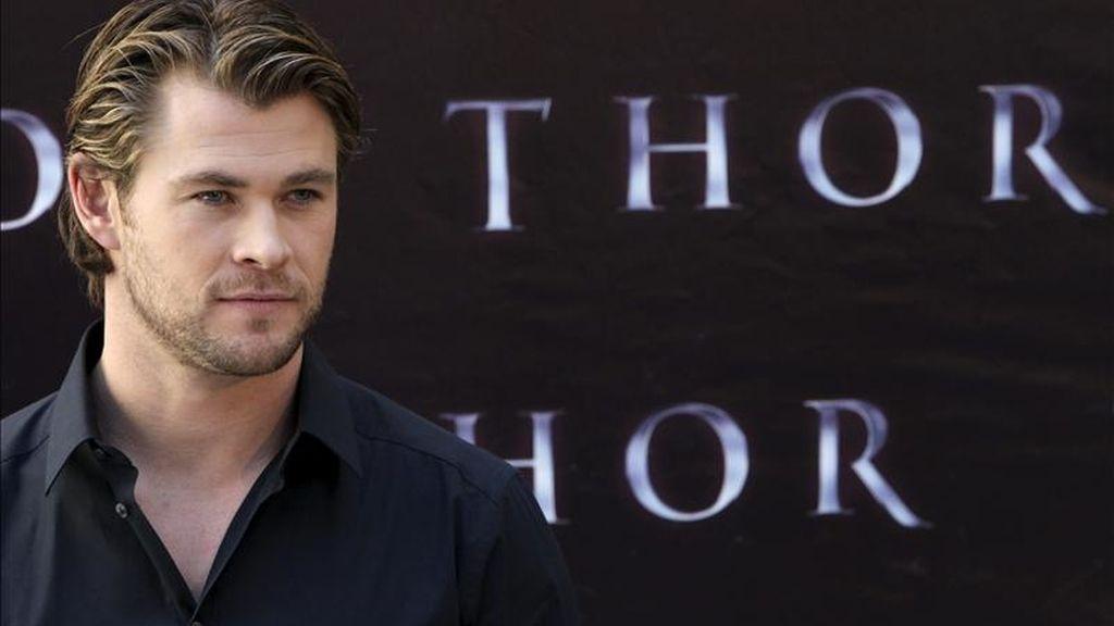 """El actor australiano Chris Hemsworth, durante la presentación en Madrid, de """"Thor"""", una superproducción con tintes de tragedia shakespeariana. EFE"""