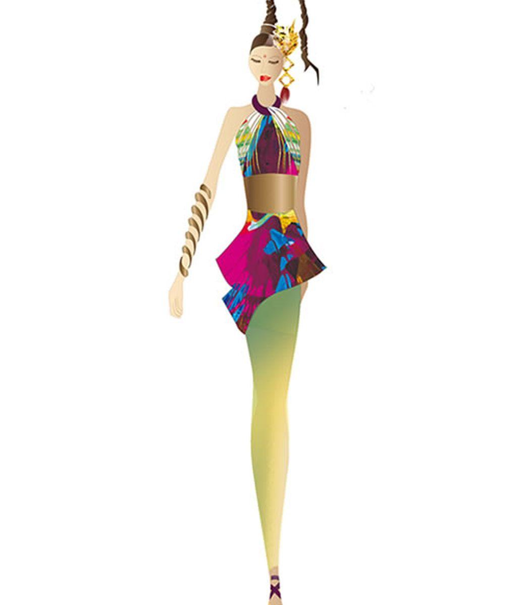 Vestido colorido  fantasía
