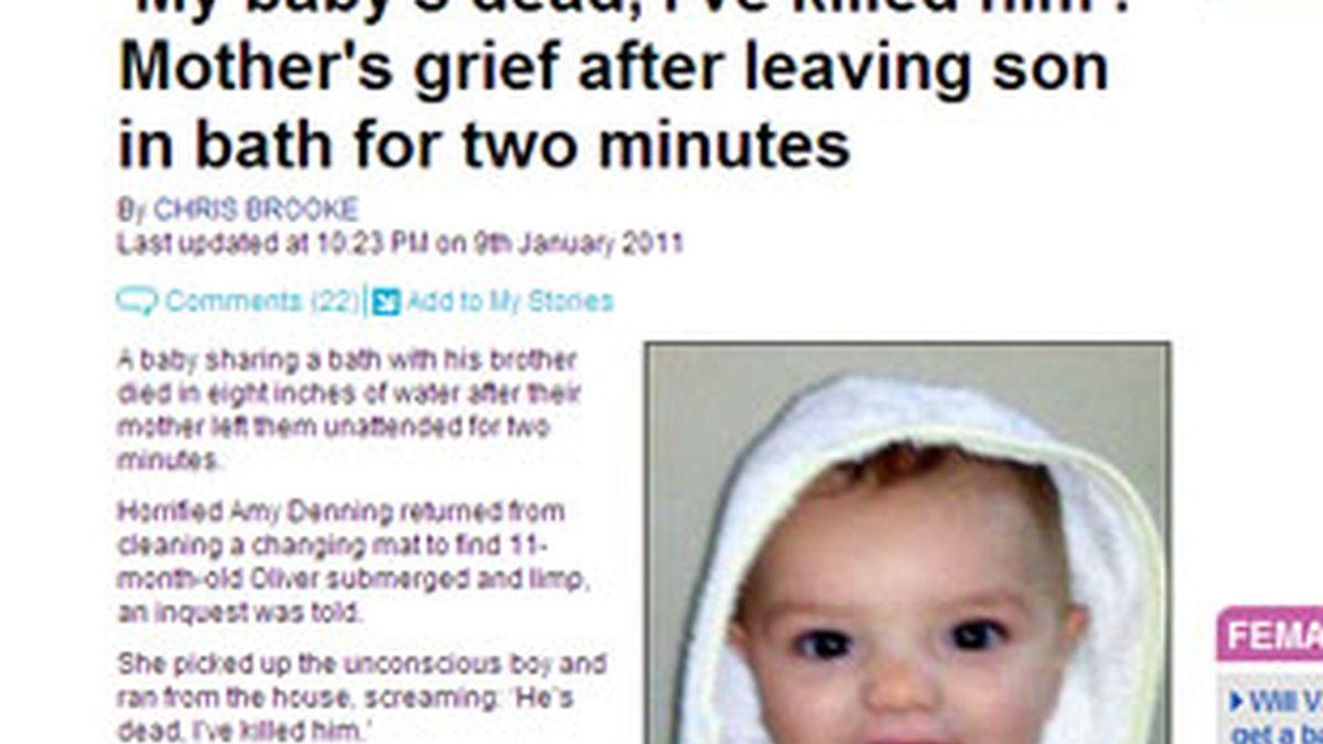 El pequeño Oliver murió ahogado en la bañera de su casa en un trágico accidente. Foto: Daily Mail.