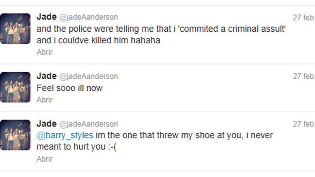 Jade pider perdón a Harry Syles en Twitter