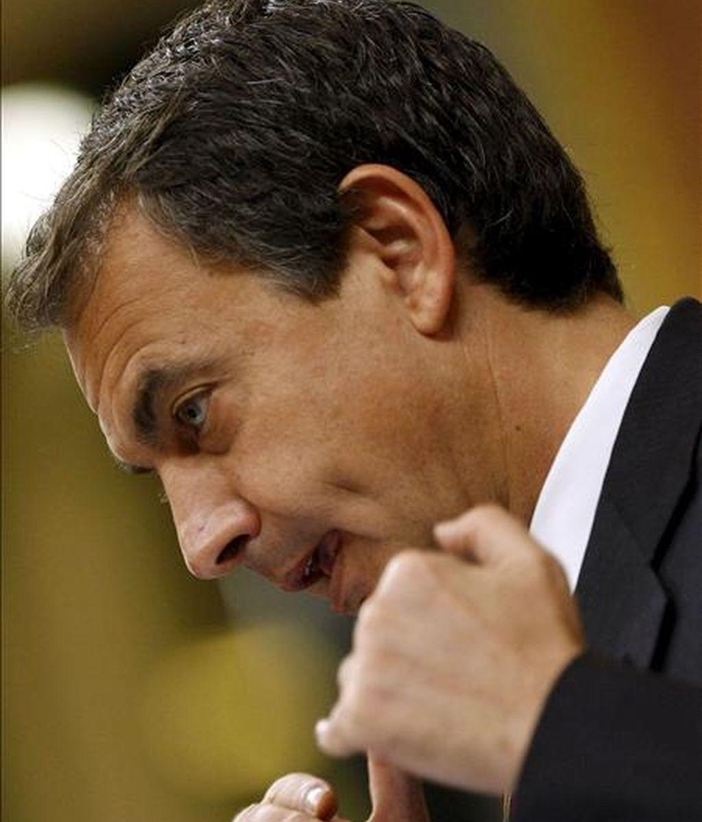 El presidente del Gobierno, José Luís Rodríguez Zapatero, durante su intervención hoy en la segunda jornada del debate sobre el estado de la nación. EFE
