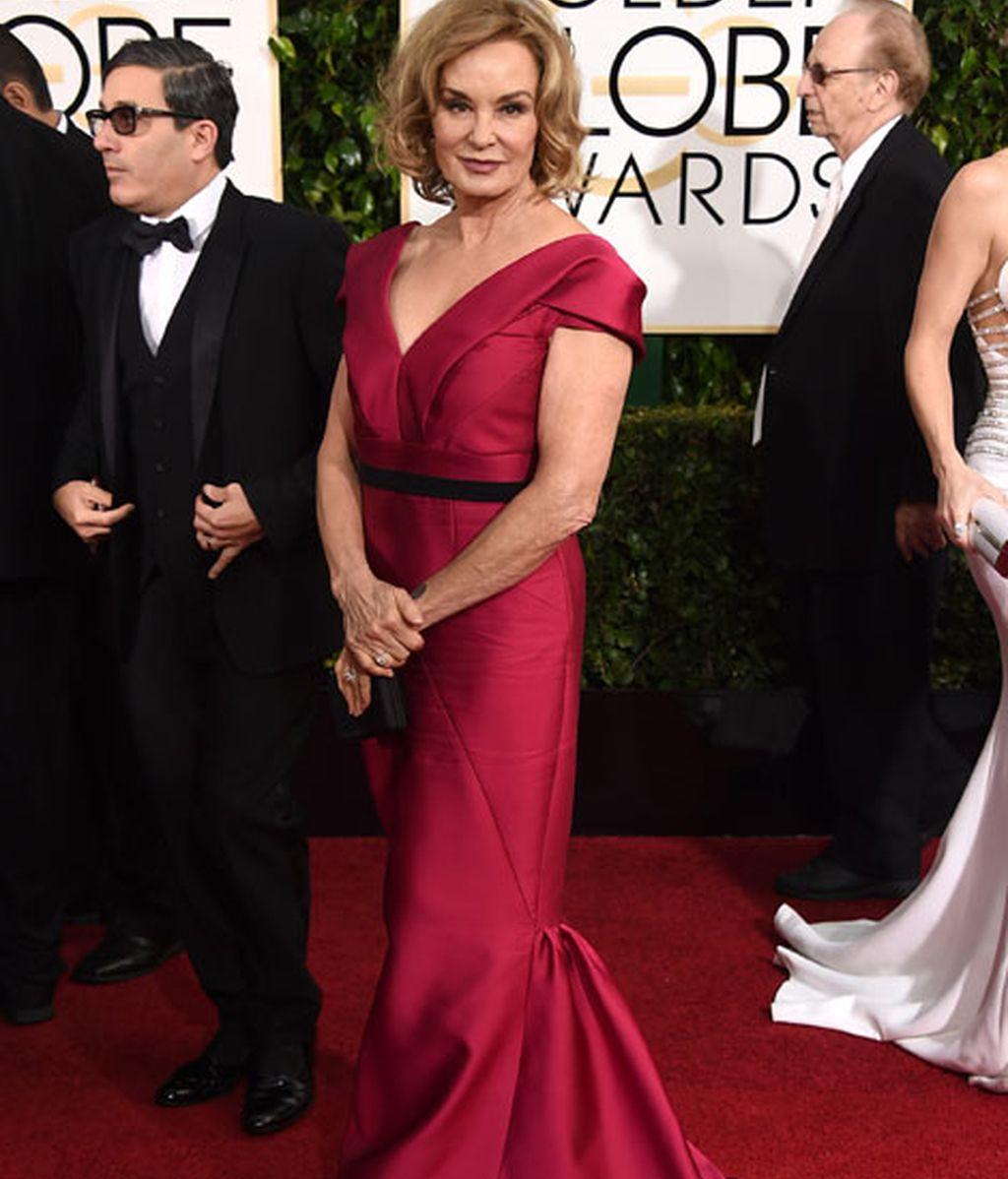 Jessica Lange en la alfombra roja de los Globos de Oro