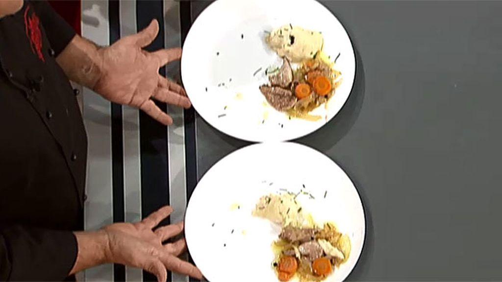 Codornices escabechadas con huevos rellenos de su paté