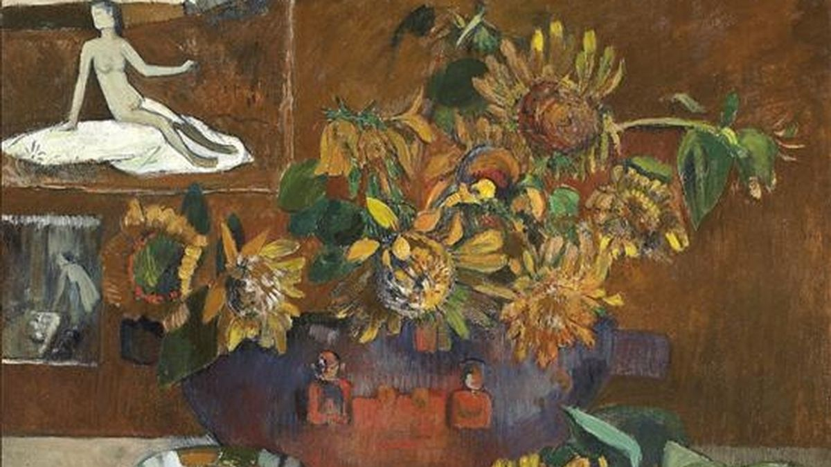 """Fotografía facilitada por Christie's de un bodegón de Paul Gauguin titulado """"Nature morte à l'Espérance"""" que será la estrella de la subasta de arte impresionista y moderno que celebrará en Londres el próximo 9 de febrero. EFE"""
