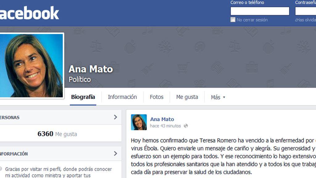 Ana Mato felicita a Teresa Romero a través de Facebook por su recuperación