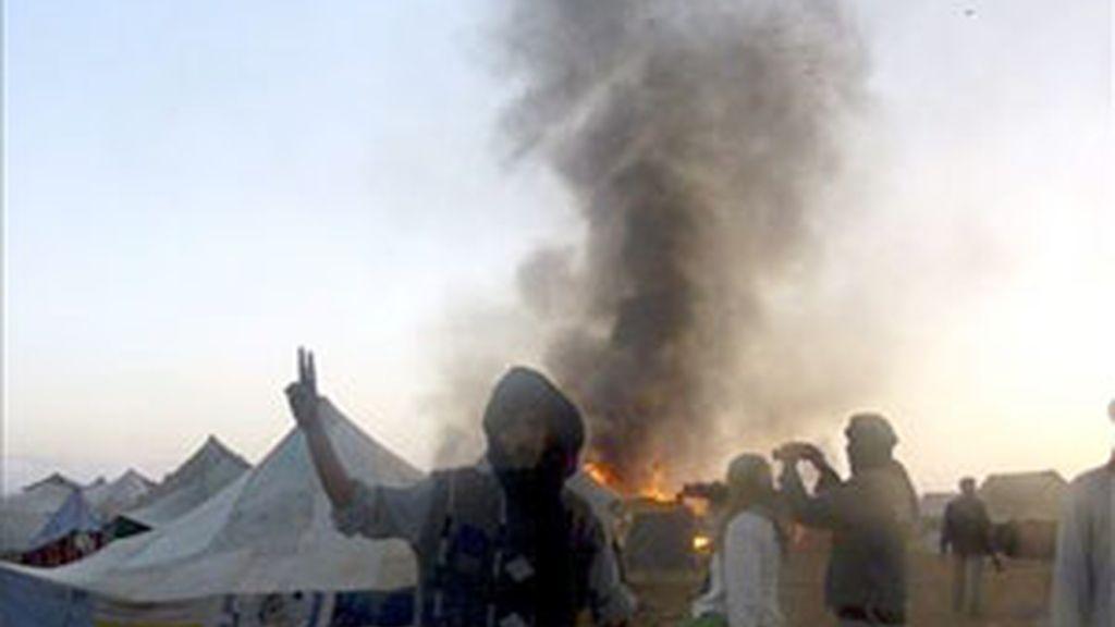 Una de las imágenes que se pudieron captar del campamento de protesta saharaui de Gdaim Izik, antes de los disturbios. Foto: EFE.
