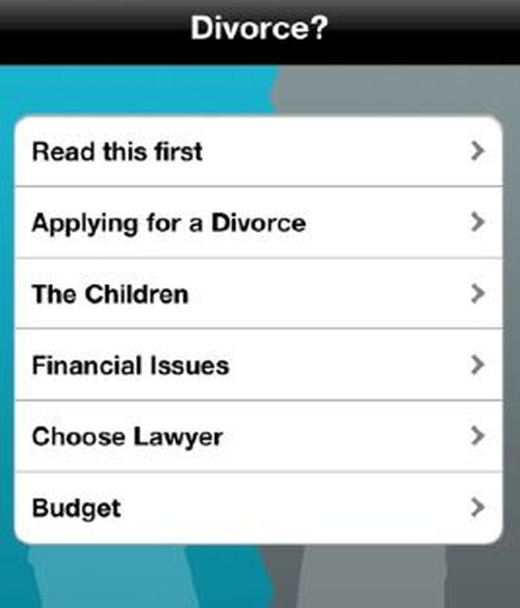 Interfaz de inicio de esta aplicación que se vende como una guía práctica sobre el proceso legal de divocio. Foto iTunes