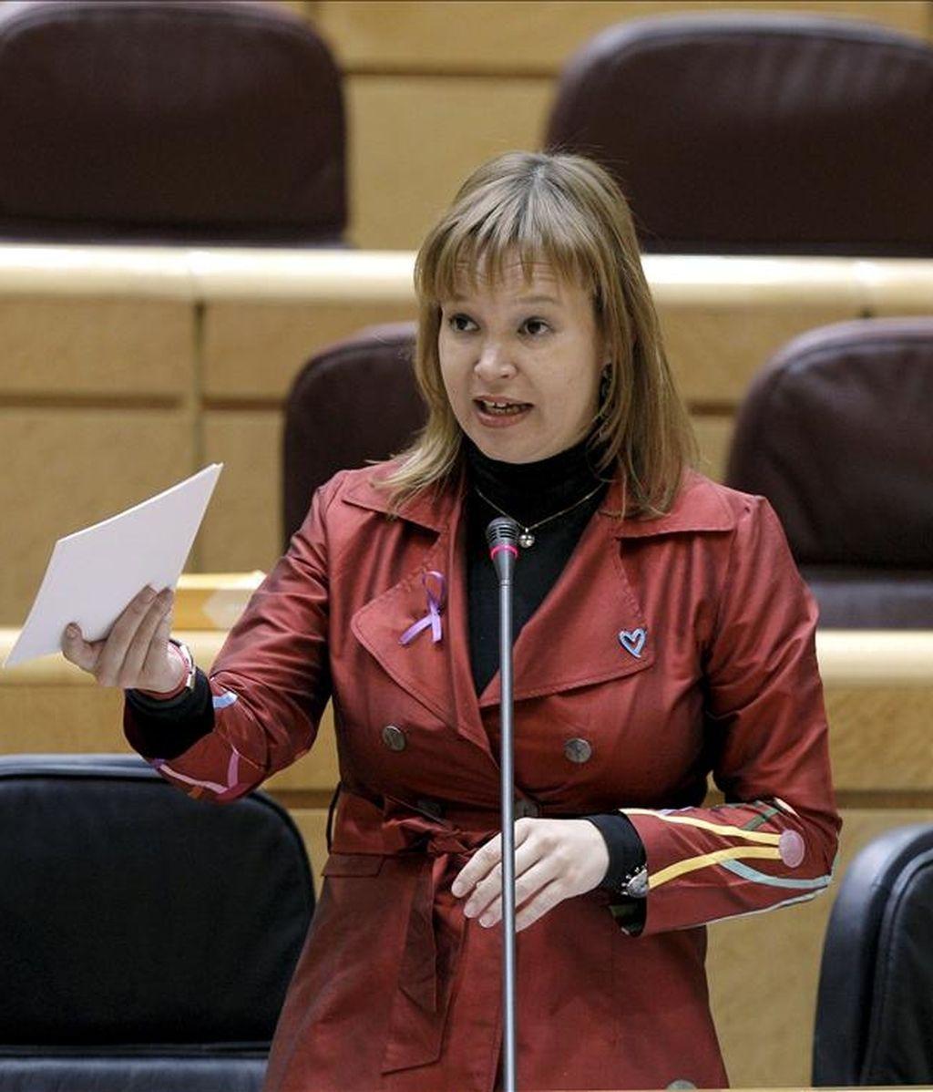La ministra de Sanidad, Política Social e Igualdad, Leire Pajín, durante su intervención en el pleno del Senado celebrado en la Cámara Alta. EFE/Archivo