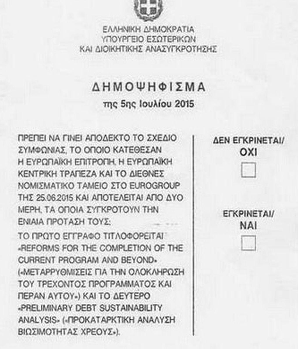 Papeleta del referéndum en Grecia