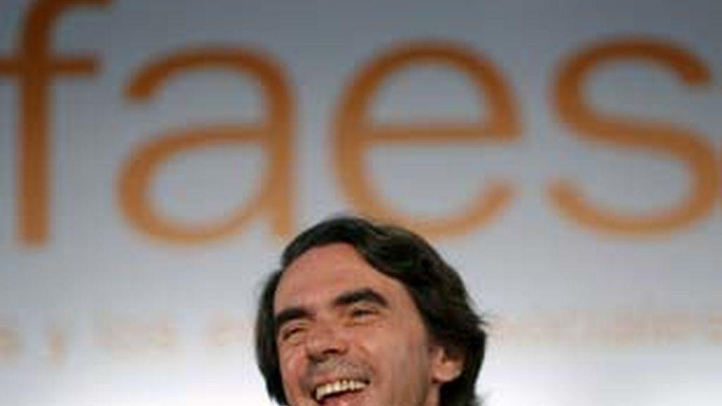 El ex presidente del Gobierno, José María Aznar, durante el acto en FAES. Foto: EFE