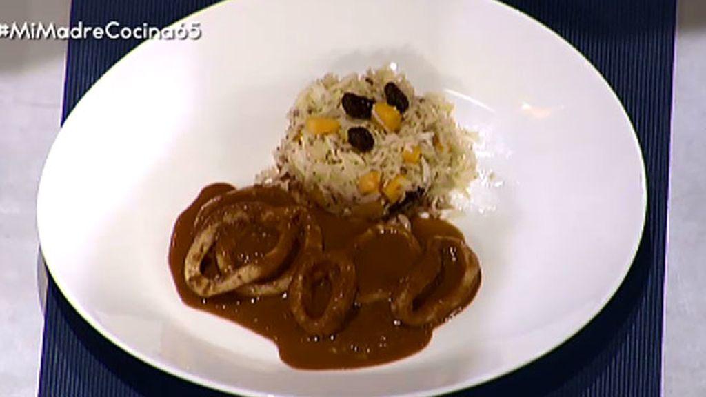 Calamares en salsa americana con arroz de verduras
