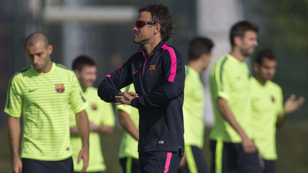 Entrenamiento del FC Barcelona previo al partido de Champions contra el Ajax