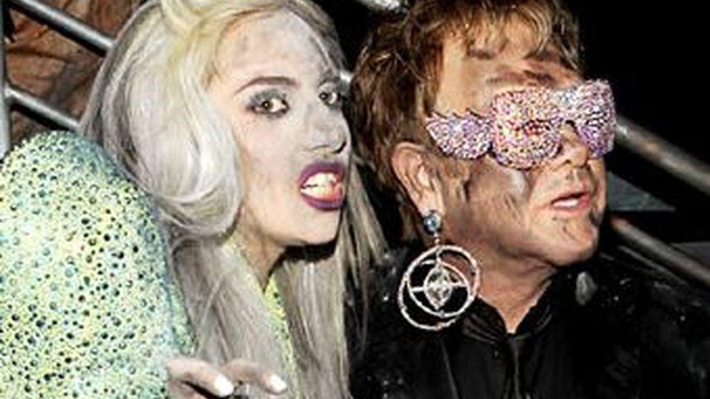 Elton John y Lady Gaga ya han cantado juntos en la ceremonia de los Grammy. Foto archivo