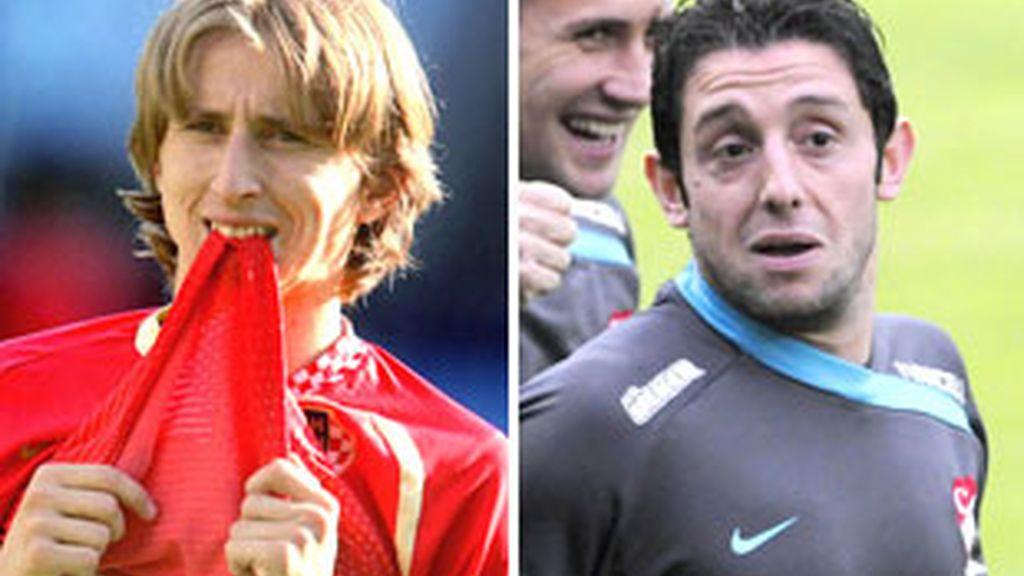 Modric y Nihat. FOTOS: UEFA.