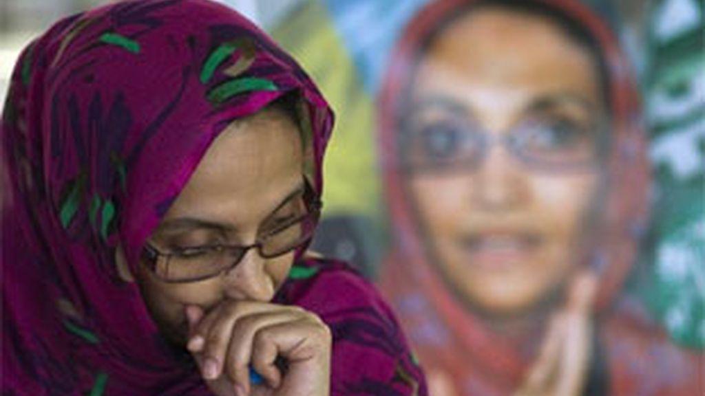Aminattou Haidar permanece en el aeropuerto de Lanzarote desde el pasado 14 de noviembre. Foto: Reuters.