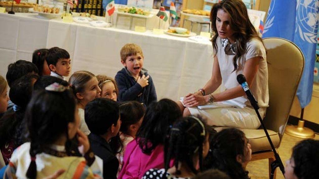 Rania en un colegio de Nueva York