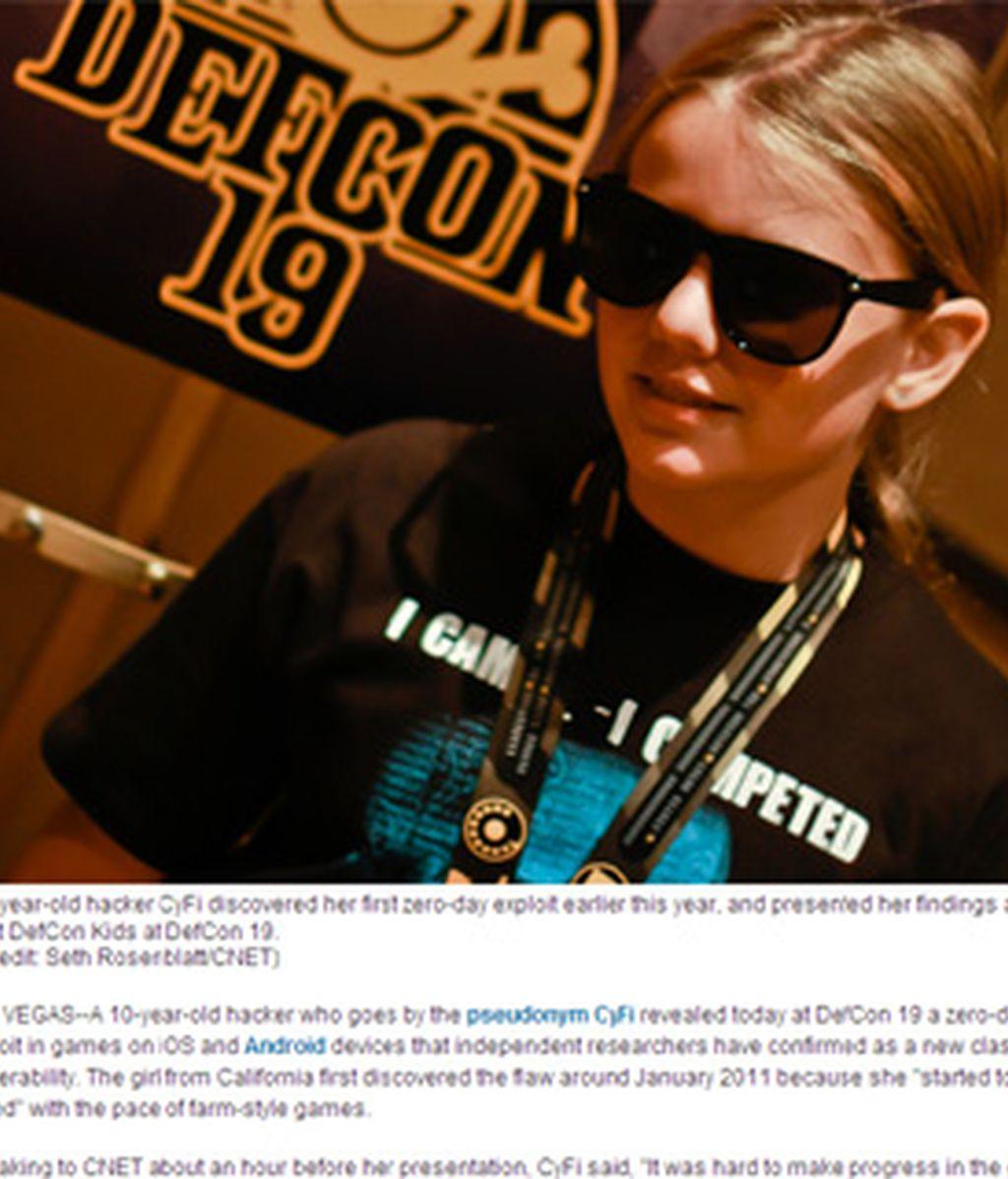 CyFi, el seudónimo de la hacker de diez años que descubrió la vulnerabilidad de algunos juegos sociales.