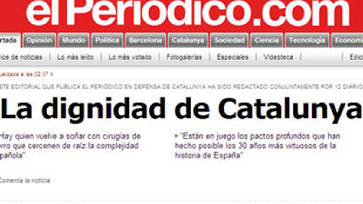 Portada de la edición digital de El Periódico.