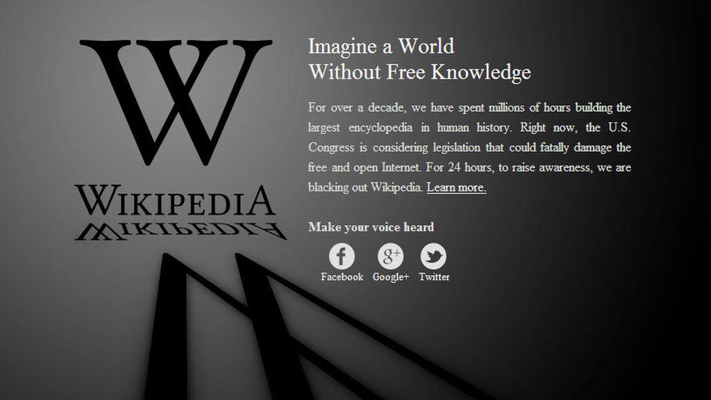 Wikipedia se apaga en EEUU para protestar contra la ley SOPA