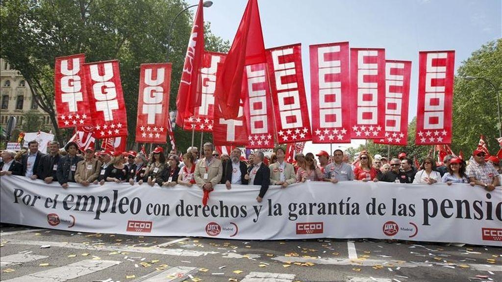 Imagen de la cabecera de la manifestación del acto central en Madrid de CCOO y UGT, celebrado el 1 de mayo del pasado año. EFE/Archivo