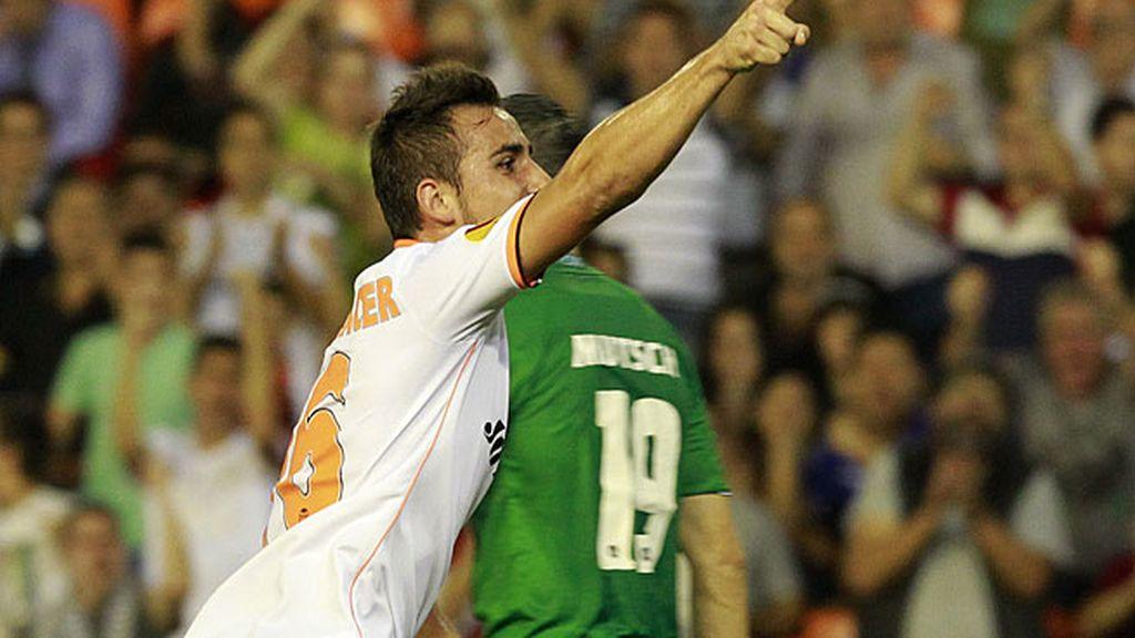 El Valencia, en uno de los goles ante el Guimaraes