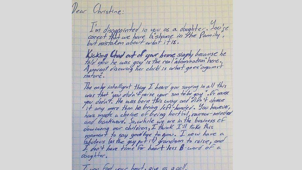 Carta de un padre a su hija en la que recrimina haber repudiado a su nieto por ser gay