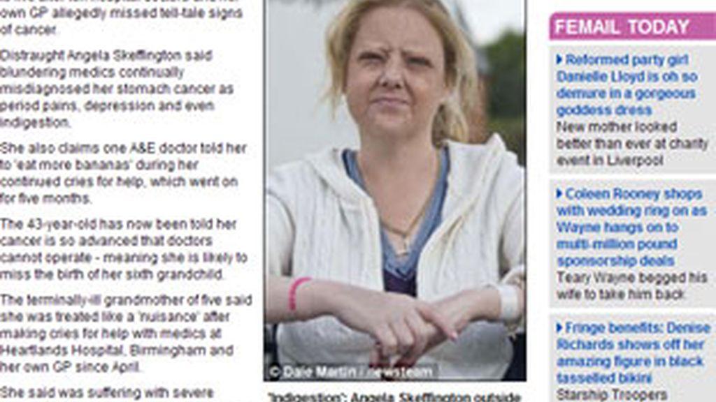 Angela Skeffington, enferma de cáncer de estómago.