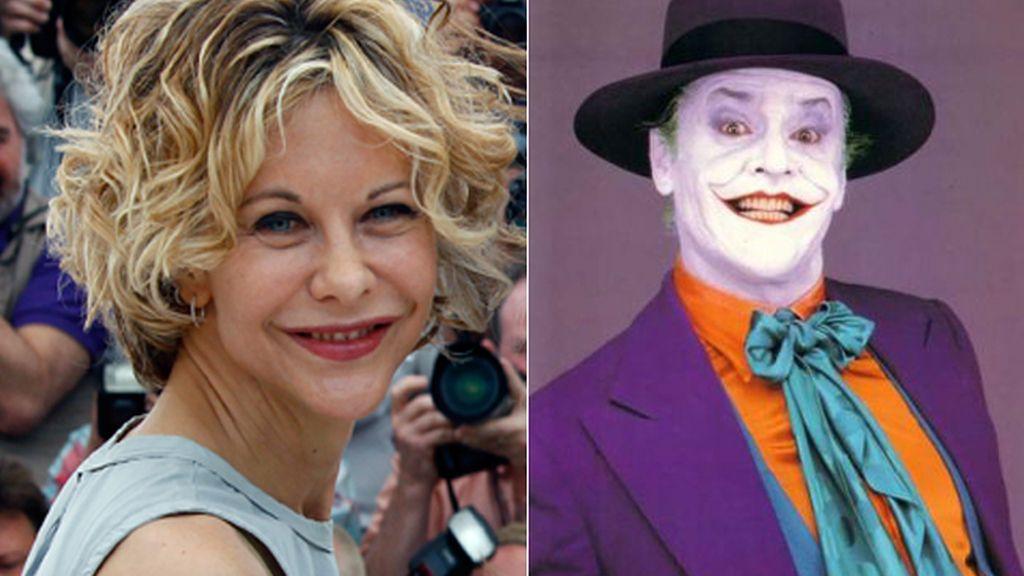 La actriz Meg Ryan y el personaje de 'El Joker' interpretado por Jack Nicholson