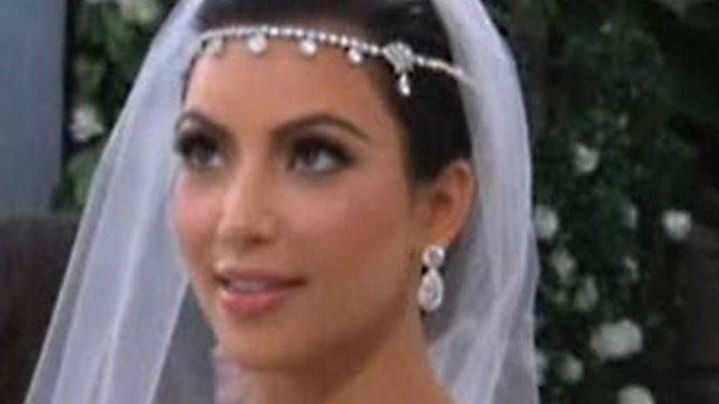 Kim Kardashian en el día de su boda. Foto: GTRES