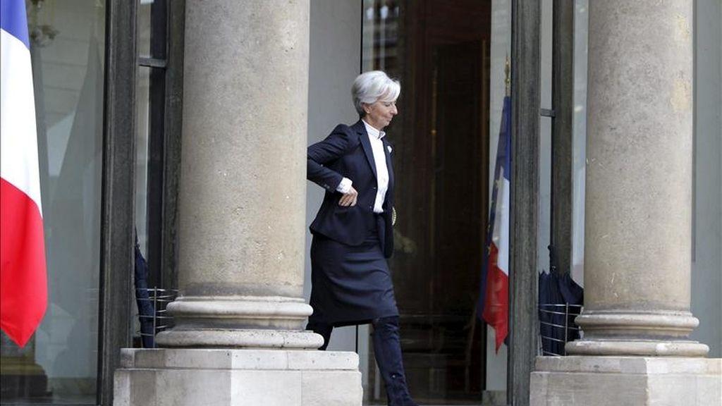 La ministra francesa de Economía, Industria y Empleo, Christine Lagarde, a  su salida del Palacio del Elíseo en París, Francia. EFE/Archivo