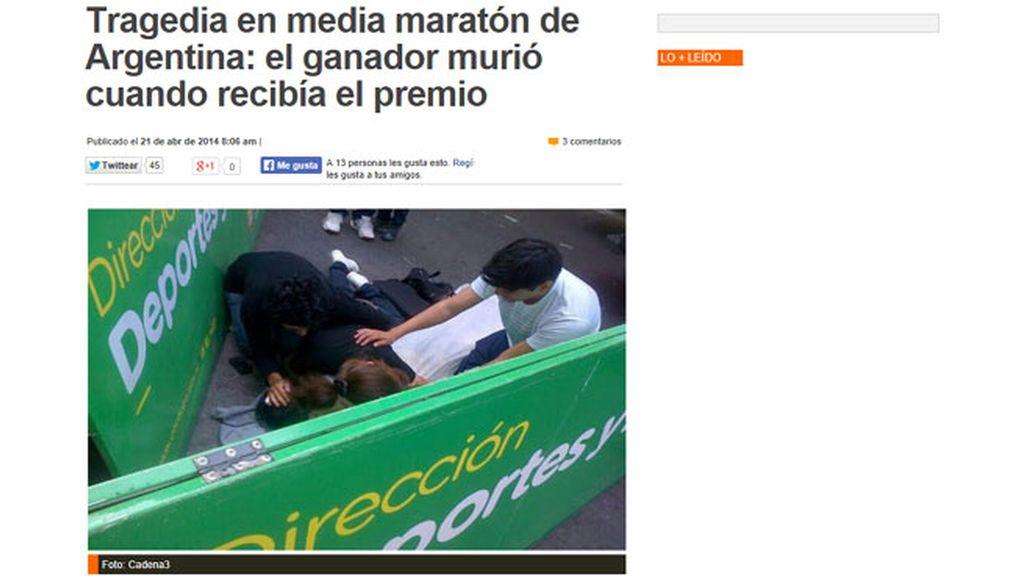 El ganador de una maratón muere mientras le entregaban el premio