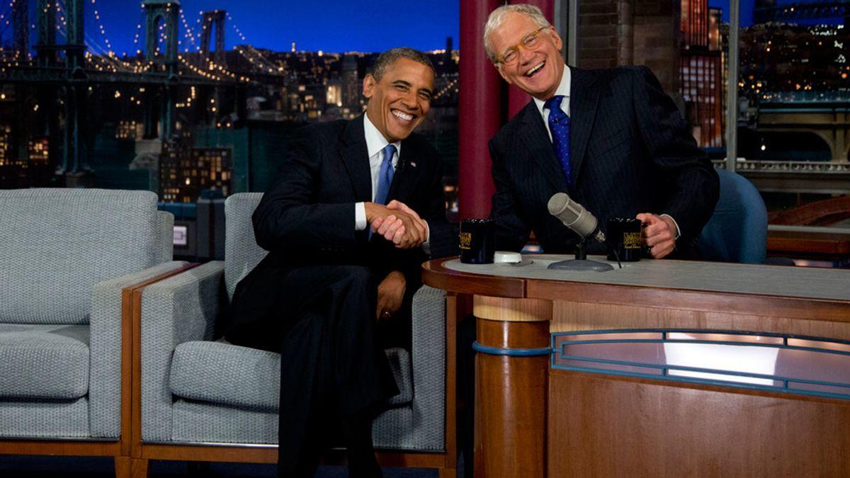 Barack Obama durante la entrevista con David Letterman
