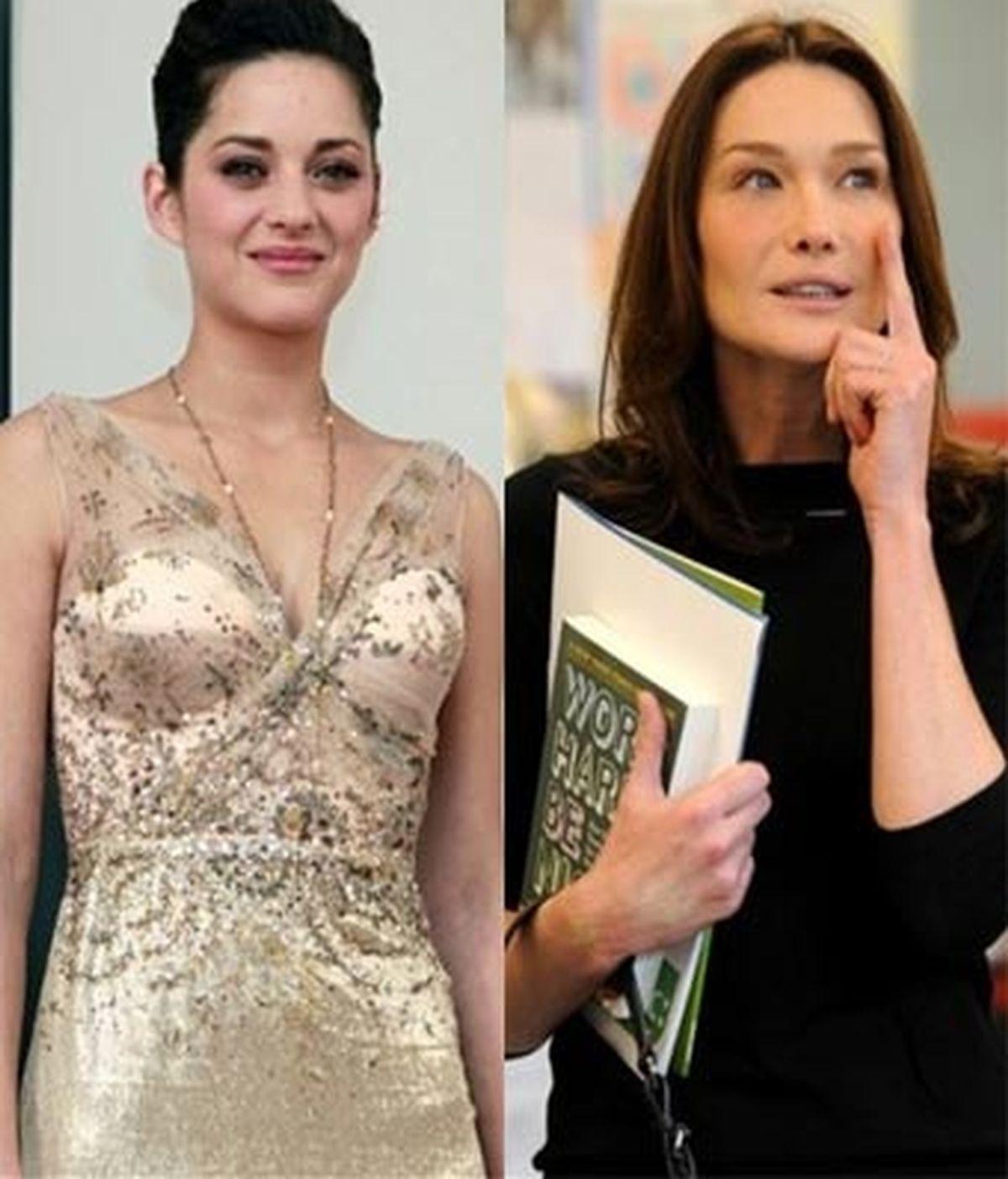 La producción ha dado los nombres de los principales actores entre los que figura Marion Cotillard (i) pero no Carla Bruni (d). Fotos: AP