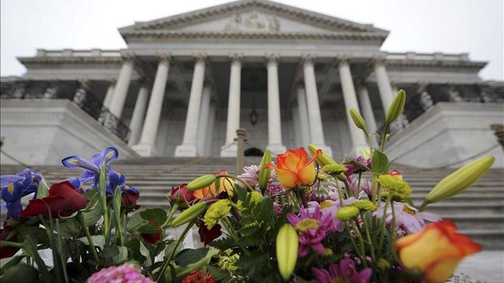 Unas flores en memoria de las víctimas del tiroteo de Tucson han sido depositadas frente al Capitolio en Washington, EE.UU., este 11 de enero. EFE