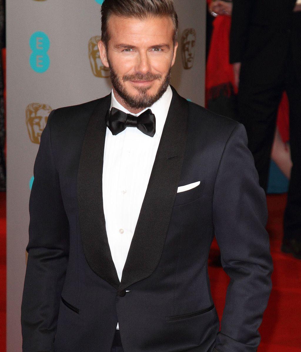 David Beckham, con pajarita en el 'photocall'.