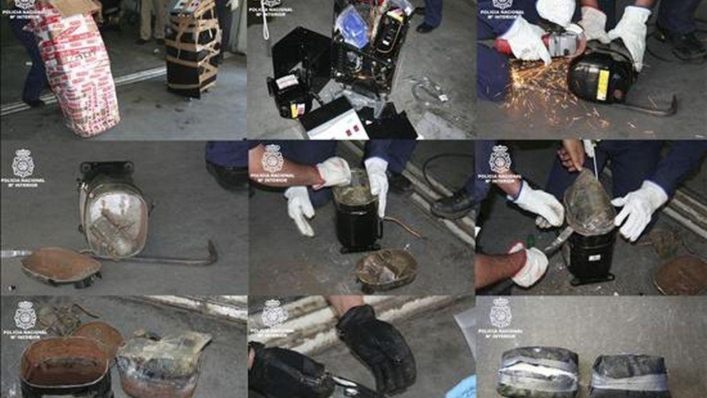 Agentes de la Policía Nacional han interceptado un alijo de cinco kilos de cocaína llegado desde Venezuela oculto en un equipo de crioterapia, utilizado en medicina estética, y ha detenido a tres personas en Alcorcón (Madrid) encargados de recibir y distribuir la droga en España. EFE