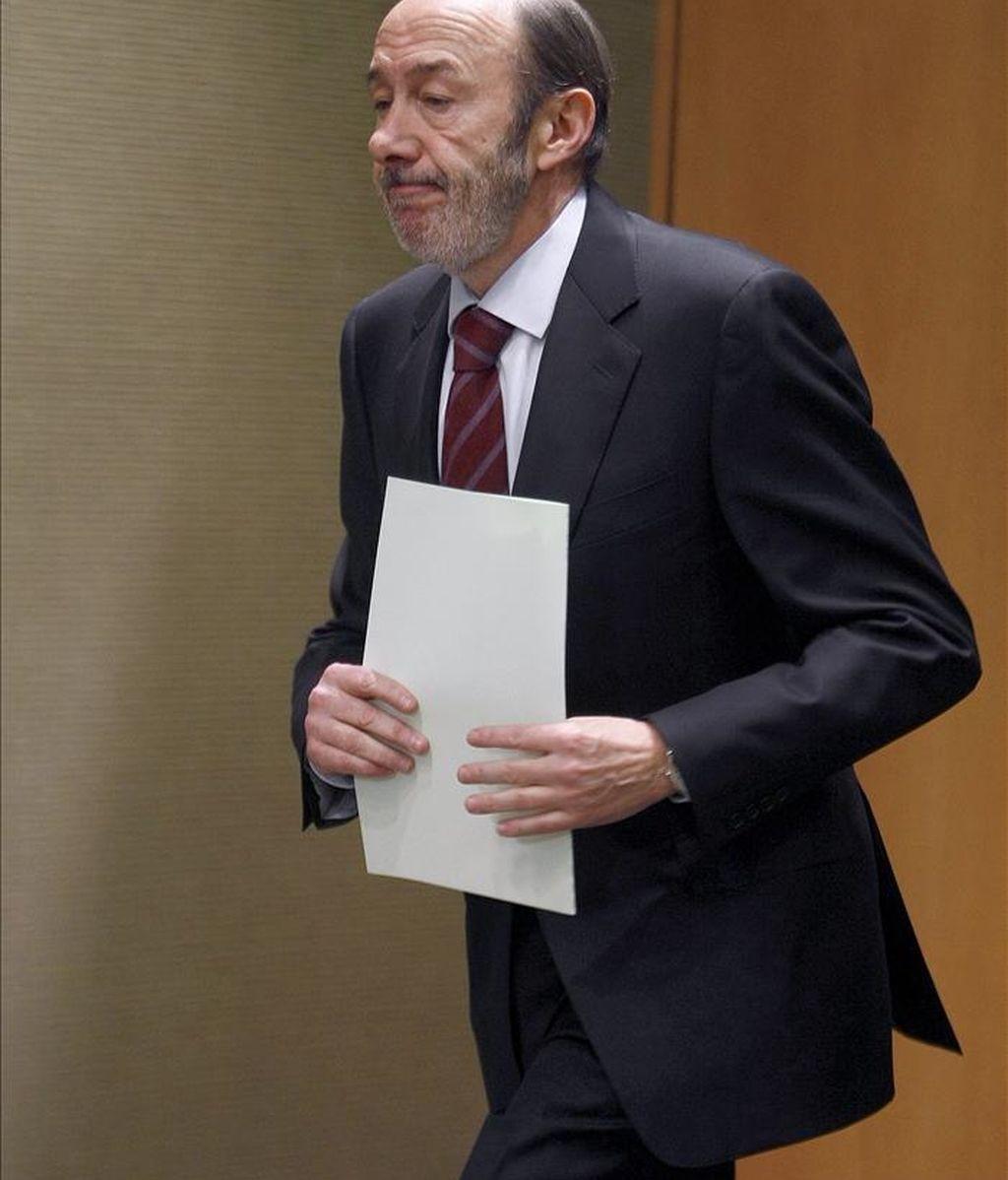 El vicepresidente primero del Gobierno y ministro del Interior, Alfredo Pérez Rubalcaba. EFE/Archivo